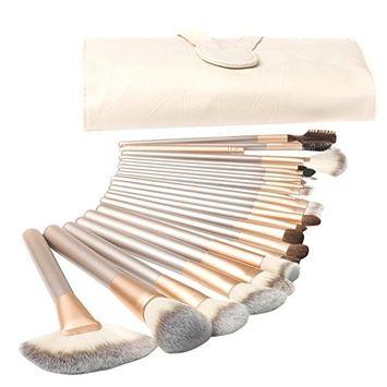 Makeup Brushes,VANDER 24pcs Cosmetics Brushes Set Synthetic Kabuki Professional Brush Kit Cream Contour Face Powder, Foundation, Eyeliner Face Concealer,Eyeshadow, Lip Brushes(24pcs Champagne)