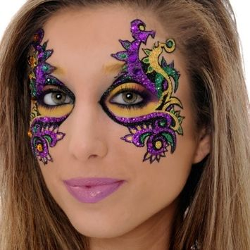 Mardi Gras EYE Mask Xotic Eyes Professional Make Up Green Purple Gold Costume