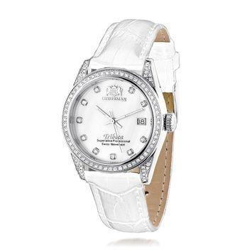Womens LUXURMAN Tribeca Diamond Swiss Quartz Watch Stainless Steel 1.5ct w White MOP & Leather Band