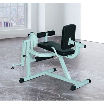 Globe House Products GHP 440-Lbs Weight Capacity Black & White Leg Curl Extension Exercise Workout Bench
