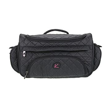Kiota Quilted Tote Beauty Bag With 3 Side Compartments Ideal for Cosmetic Bottles Brushes Accessories