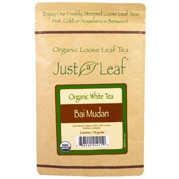 Just a Leaf Organic Tea, Loose Leaf, White Tea, Bai Mudan, 2 oz (pack of 3)