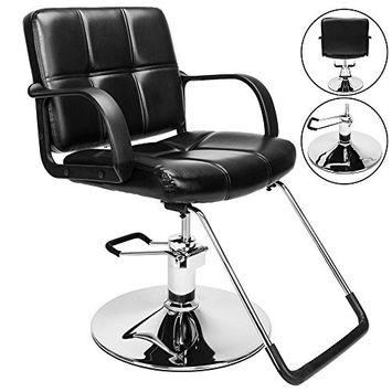 GHP Black PVC Leather & Steel Saddle Sticking Hydraulic Salon Barber Chair w Armrests