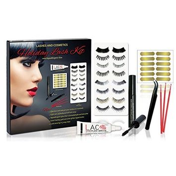 Eyelash Kit for All Holidays | 8 Sets Flexi Band Lashes | Apply Lashes on Easily with New Lash Tabs | Precision Curved Tweezers | Hypoallergenic Glue