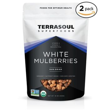 Terrasoul Superfoods Sun-dried White Mulberries (Organic), 16-ounce (Pack of 2)