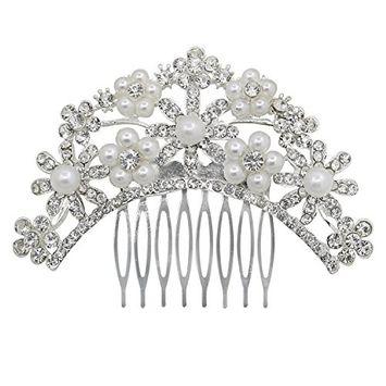 Polytree Bridal Wedding Hair Pins Rhinestones Faux Pearls Flower Hair Clip Comb - Type 2