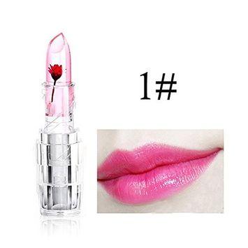 Hot Sales! DEESEE[TM] Waterproof Magic Jelly Flower Color Temperature Change Moisturizer Lip Lipstick [A]