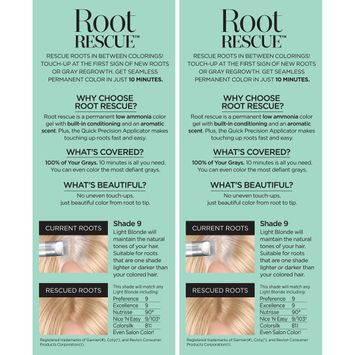 Root Rescue™ 10 Minute Root Coloring Kit Matches Any 9 Light Blonde 2-1 Kit Boxes
