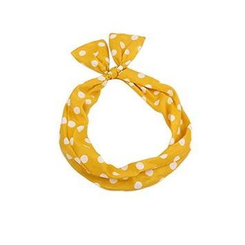 1 PCS Lovely and Sweet Yellow Bow Headband Hair Hoop Band Bowknot Bandeau Hair Ornament Modelling Headdress Best for Mother and Daughter