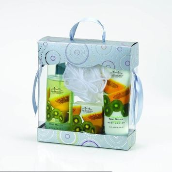 San Francisco Soap Co. Body Lotion, Body Mist, Bar Soap & Pouf - Bath and Body Gift Boxed 4 Piece Set (Kiwi Melon)