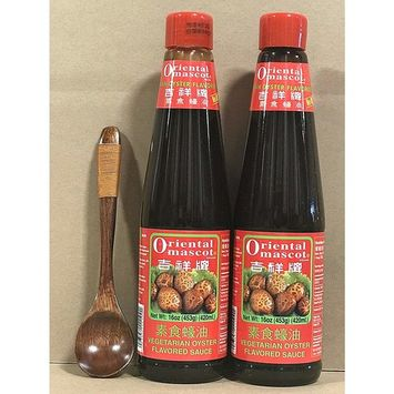 KC Commerce Oriental Mascot Premium Oyster Sauce 16oz Pack of 2 With FREE Wodden Spoon (NO MSG, Vegetarian)