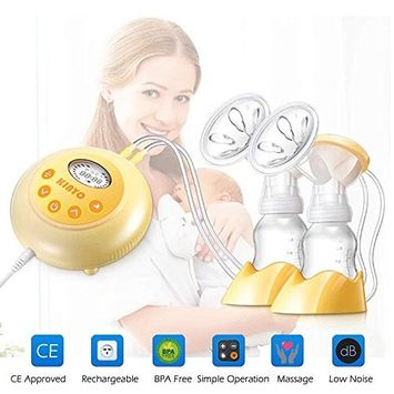 KINYO Double Electric Breast Pump, Portable Rechargeable Milk Pump, with LCD Screen, Automatic Massage Function, Bpa Free