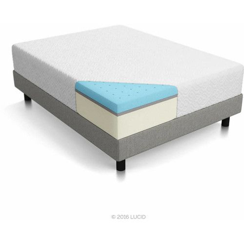 "Lucid 12"" Ventilated Gel Memory Foam Mattress, Triple-Layer, Multiple Sizes"