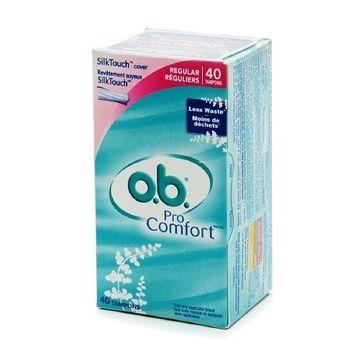 o.b. Pro Comfort Non-Applicator Tampons, Value Pack, Regular, 40 ea 1 pack