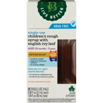 Live Better Single-Use Children's Cough Syrup With English Ivy Leaf, Pineapple