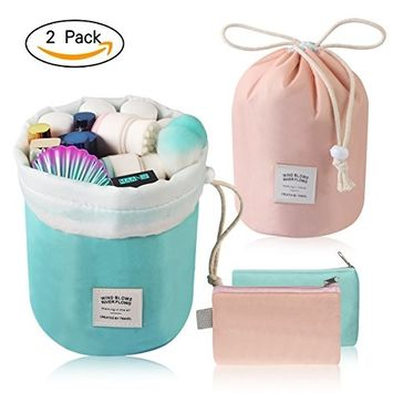 MAANGE Travel Makeup Bags 2PCs Waterproof Makeup Bag Cosmetic Bag Organizer Bathroom Storage Carry Case Drawstring Dresser Pouch with Mini Pouch & Clear PVC Makeup Brush Bag (Light Blue & Pink)