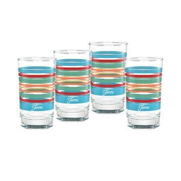 Rainbow Radiance Stripes 7-Ounce Juice Glass Set of 4