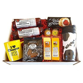 Deluxe WI Cheesehead Gift Basket - features Smoked Summer Sausages, 100% Wisconsin Cheeses, Crackers, Pretzels, Mustards, Travel Mug | Great Gift!!