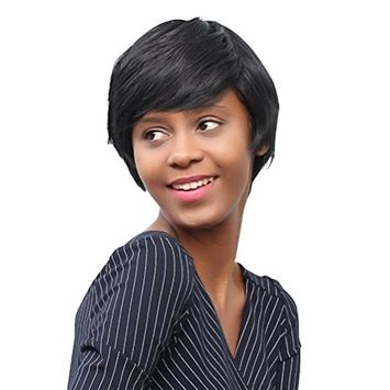 OVERMAL Spiffy Short Cut Straight Layered Black Synthetic Short Hair Wig For Women