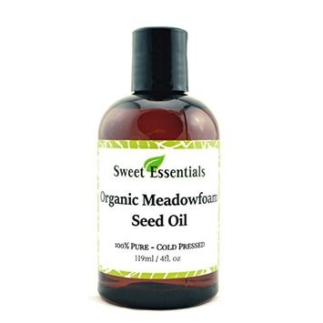 100% Pure Organic Meadowfoam Seed Oil | 4oz | Cold Pressed | For Hair, Skin & Nails | Eyelash Growth | For All Skin & Hair Types | Also Excellent For Mature Skin