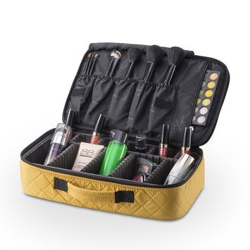 KIOTA Professional On The Go Portable EVA Makeup Train Case Cosmetic Travel Storage Organizer Bag with Dividers and Brush Pockets - Canary Yellow
