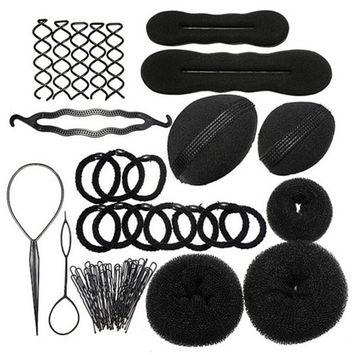Yamalans Lady's Styling Base Accessory Maker Pads Hairpins Clip Insert Tool Hair Bun Set