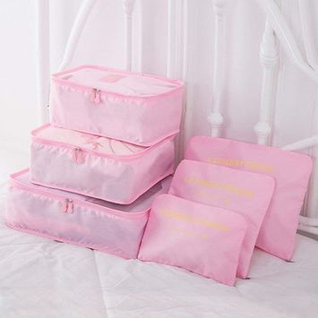9Pcs Magik Waterproof Clothes Storage Bags Packing Cube Travel Luggage Organizer Pouch (Pink.)