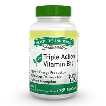 Health Thru Nutrition Vitamin B-12 - Triple Action - Sustained Release for Extreme Retention - Releases at three different points of digestion (mouth, stomach, intestines) (1,000 mcg of Vitamin B-12 / 60 Tablets)