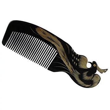 Brendacosmetic Natural Horn Comb Phoenix Carving Comb,No Static Black Buffalo Horn Wide Tooth Comb Crafts Comb For combing or collect