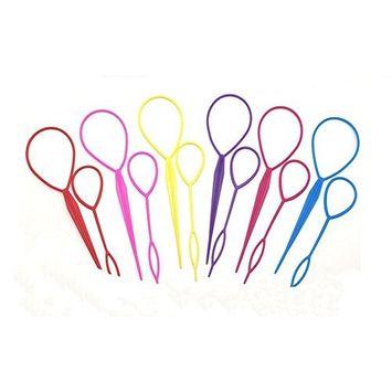 5Pair(10PCS)Magic Pull Hair Pin-Hair Braid Kits Pull Hair Needle Dish Hair Styling Tool(Color Random)