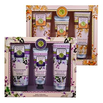 2 Pack Orchard & Vine 3pc Therapy Bath Gift Sets Honey Almond Black Currant Vanilla