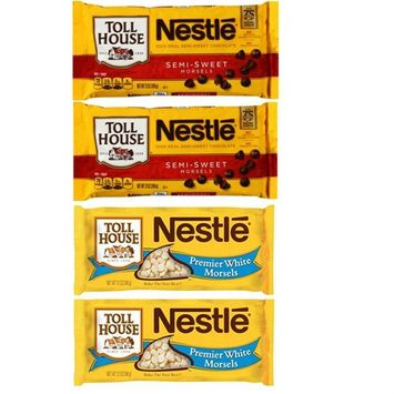 Nestle Toll House Semi Sweet Chocolate Chips and White Chocolate Baking Chips (Variety Pack of 4)