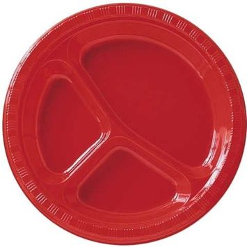 10 Inch Divided Plates Classic Red Package of 20