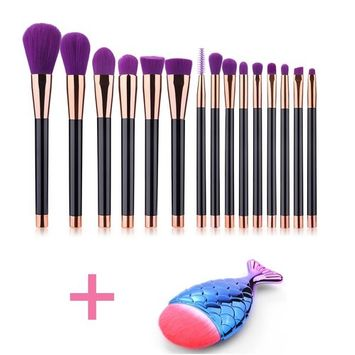 DSCbeauty 15 Pcs Makeup Brushes Set Plus 1pcs Mermaid Fish Shape Foundation Contour Blush Concealer Mascara Eyeshadow Blending Eyeliner Lip Bronzer Powder Cosmetics Brush Tool Kit