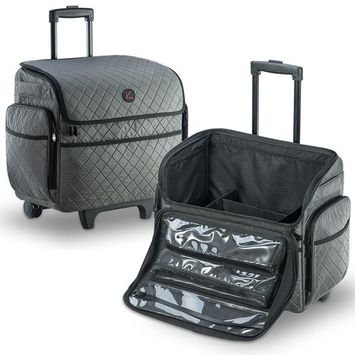 KIOTA Makeup Artist Case on Wheels, Soft Cosmetic Case with Trolley and Removable Storage Pockets for Beauty Products, Side Compartments with Zippers, Slate