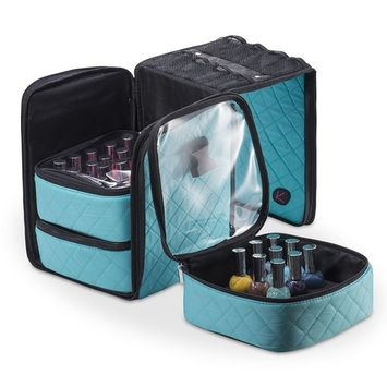 KIOTA Deluxe Soft Sided Nail Polish Storage Cube, 3 in 1 Organizer with Shoulder Strap, Mesh Pocket, Bubblegum