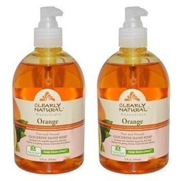 Clearly Natural Liquid Pump Soap Orange (Pack of 2) With Fragrant, Enriched, Natural, Creates Smooth and Soft Skin, No Artificial Ingredients, Hypo-Allergenic and Natural Humectant, 12 fl. oz. Each