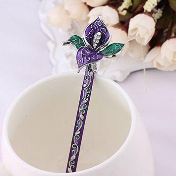 1 Piece High Quality, Beautiful Blue and White Procelain Crystal Flowers Antique Hair Sticks, Hair Pins, Chopsticks,hair Accessory ,Wedding Hair Jewelry (purple)