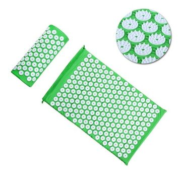 ROSENICE Acupressure Mat and Pillow Massager Set Acupuncture Therapy Set for Body Sciatic Pain Stress Relief and Muscle Relaxation (Green)