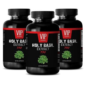 Adaptogenic herb powders - HOLY BASIL EXTRACT 750 - Respiratory support - 3 Bottles 180 Veg. Capsules