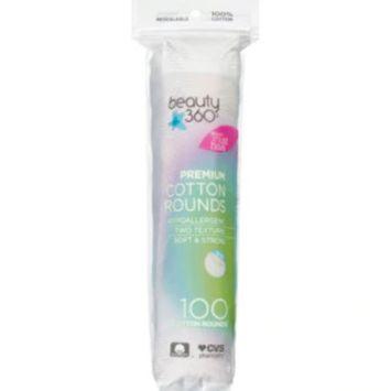 Beauty 360 Premium Cotton Rounds, 100CT