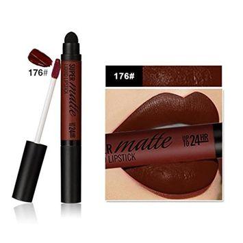 Hot Sales! DEESEE(TM)12 Color Women Professional Double-end Matte Light Water Resistant Lasting Lip Lipstick Smudge Sponge Head lip gloss.