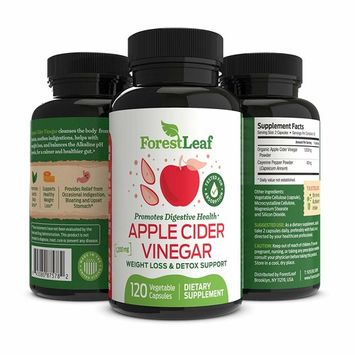 Organic Apple Cider Vinegar Pills - 1200mg, with Cayenne Pepper Powder - All Natural Digestion and Gut Health Supplement for Detoxes, Cleanses and Weight Loss – 120 Vegetable Capsules - ForestLeaf