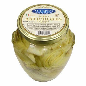 Giusto Sapore Artichokes Quartered in Oil Antipasto 10.23oz - Non GMO Italian Premium Gourmet Brand - Imported from Italy and Family Owned [Artichokes Quartered in Oil]