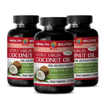 Natural weight loss pills - EXTRA VIRGIN COCONUT OIL - Natural supplements for weight loss - 3 Bottles 180 Softgels