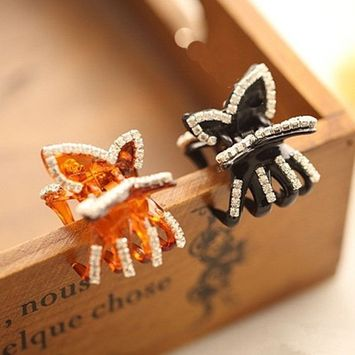 Polytree Women's Butterfly Rhinestone Claw Hairpin Hair Clip 2Pc (Black and Coffee)
