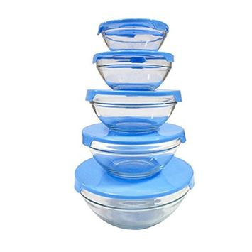 High Quality Glass Fresh Food Storage Container Bowl With Air Tight Lid - 5 Pack