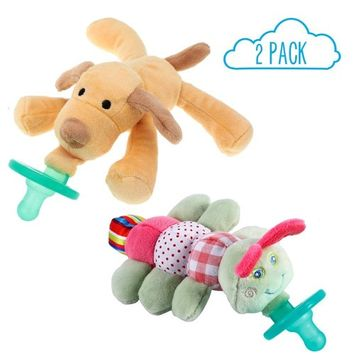 Baby Plush Animal Pacifiers - Caterpillar & Dog Animal Soft Plush Animals with BPA Free Silicone Pacifiers for Babies, Squeaky Baby Stuffed Animal Pacifiers (Twin 2 Pack)