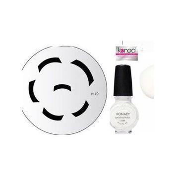 Bundle 3 Items: Konad Nail Art Manicure Stamping Kit Image Plate M19