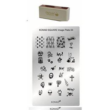 Bundle - 2 Items: Konad Nail Art Square Image Plate #04 + Itay Beauty Nail Buffer for Shine Nails